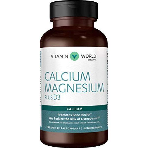 Vitamin World Calcium Supplement 1 Vitamin World Calcium Magnesium Plus Vitamin D3 250 Capsules, Promotes Bone Health, Mineral Supplement, Rapid-Release, Gluten Free