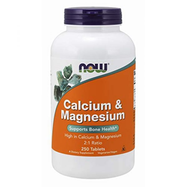NOW Foods Calcium Supplement 1 NOW Supplements, Calcium & Magnesium 2:1 Ratio, High Potency, Supports Bone Health*, 250 Tablets