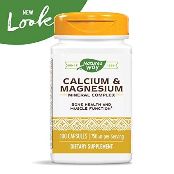 Nature's Way Calcium Supplement 3 Nature's Way Calcium & Magnesium Mineral Complex, 750 mg per serving, 100 Capsules (Packaging May Vary)