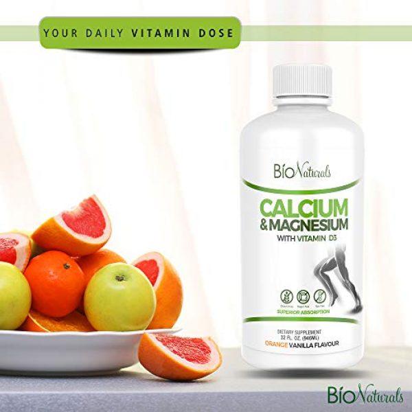 Bio Naturals Calcium Supplement 6 Bio Naturals Calcium & Magnesium Liquid Supplement with Vitamin D3 - Natural Formula, FOUR Types of Calcium Supports Strong Bones with Superior Absorption to Pills - 100% Vegetarian - 32 fl oz