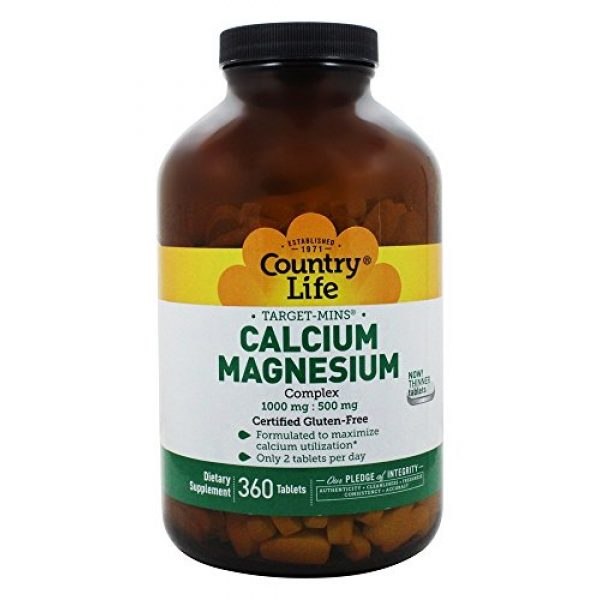 Country Life Calcium Supplement 2 Country Life Target Mins Cal-mag Complex, 1,000 mg/500 mg Per 2 Tablets, 360-Count