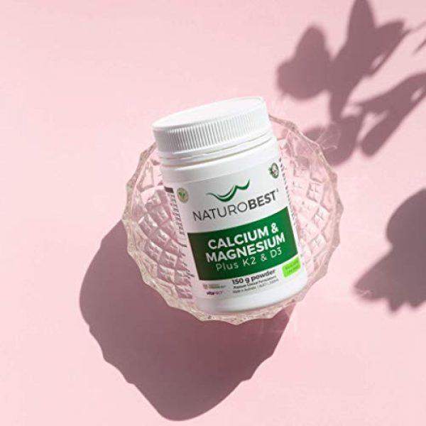 NATUROBEST Calcium Supplement 3 NaturoBest Calcium & Magnesium Plus K2 & D3 Powder | Vegan-Friendly, High Potency Calcium and Magnesium with Co-Factor Vitamins K2 and D3 (150g Powder)