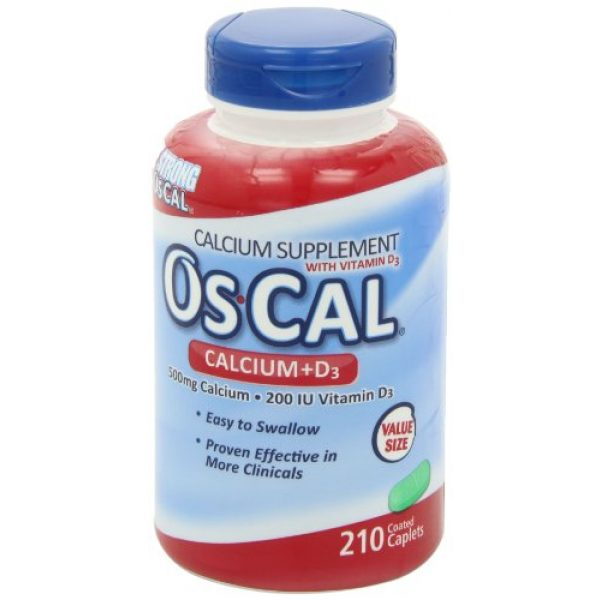 OsCal Calcium Supplement 7 Os-Cal Calcium + D3 500 mg Calcium Supplement with 200 IU Vitamin D3 to Help Maintain Strong Bones, Coated Caplets - 210 Count