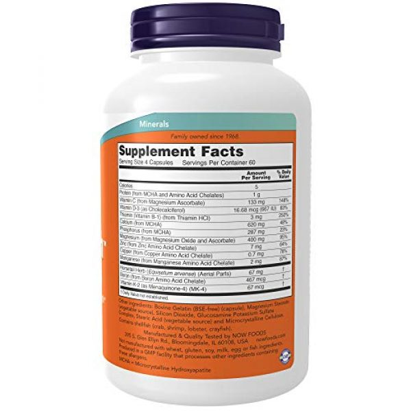 NOW Foods Calcium Supplement 2 NOW Supplements, Bone Strength with Microcrystalline Hydroxyapatite (MCHA), Magnesium and Vitamins C,D and K, 240 Capsules