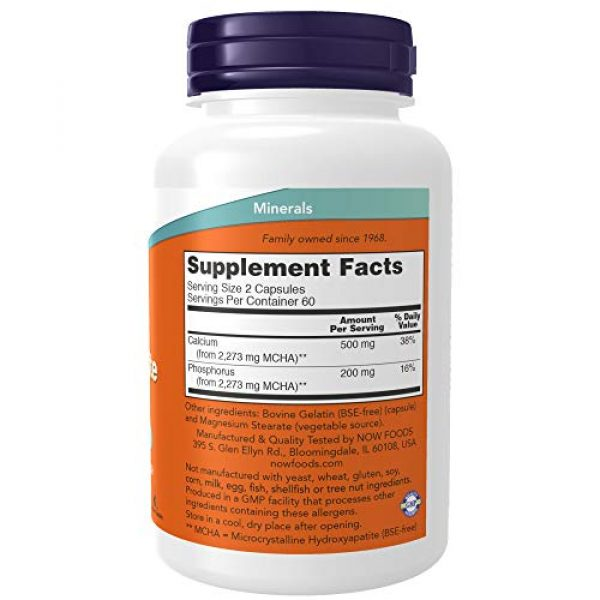 NOW Foods Calcium Supplement 2 NOW Supplements, Calcium Hydroxyapatite Caps, Supports Bone Health*, 120 Capsules