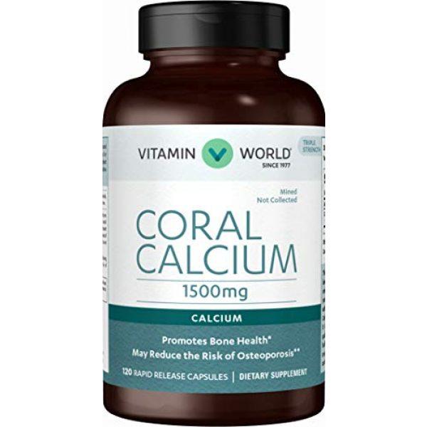 Vitamin World Calcium Supplement 1 Vitamin World Coral Calcium 1500 mg. 120 Capsules, Mineral Supplement, Rapid-Release, Gluten Free
