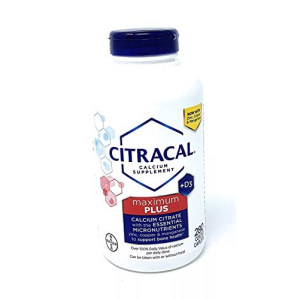 CITRACAL Calcium Supplement 1 Citracal maximum with Vitamin D3, Limitedd Larger sizee - 280 Count Total