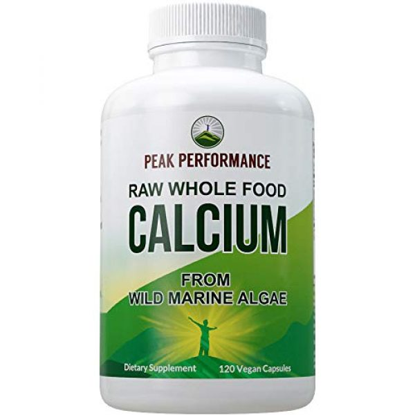 Peak Performance Calcium Supplement 1 Raw Whole Food Vegan Calcium Supplement by Peak Performance. Plant Based Calcium with Vitamin C, D3, K, Magnesium. Capsules for Bone, Joints. with 25 Organic Vegetables and Fruits 120 Pills, Tablets