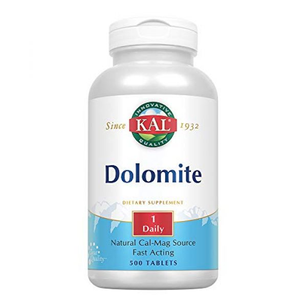 KAL Calcium Supplement 1 KAL Dolomite Tablets, 250.4 mg, 500 Count