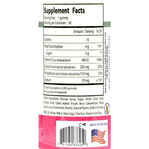 Natural Dynamix Calcium Supplement 3 Natural Dynamix Calcium DX Vitamin D , Chewable Cuties 60 Count Great Taste Gluten Free Preservative Free Natural Color Source