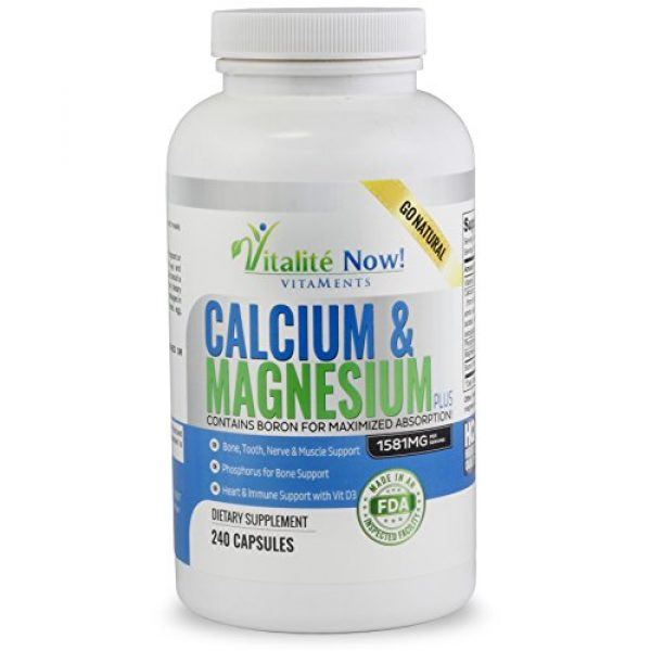 Vitalit Now Calcium Supplement 1 Best Calcium & Magnesium + Vitamin D3 400 IU - Highly Absorbable with Boron - 10 Forms of Calcium + Phosphorus for Bone Strength - All Natural - 240 Capsules - 2 Month Supply!