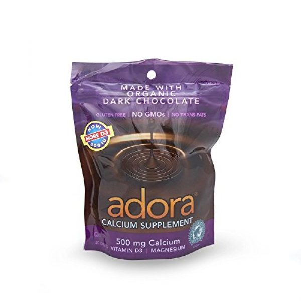 Adora Calcium Supplement 1 Adora Calcium Supplement Dark Chocolate, 30 Count (Value Pack of 3)