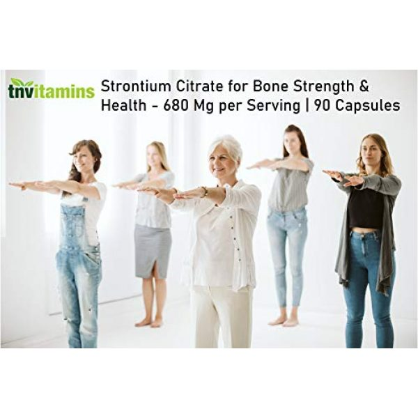 TNVitamins Calcium Supplement 4 Strontium Citrate Supplement   680 Mg - 90 Capsules   Bone Strength, and Bone Support Formula   Strontium Supplement for Bone Health, Density   Similar Mineral to Calcium   Supports Healthy Teeth