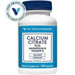 The Vitamin Shoppe Calcium Supplement 1 Calcium Citrate+MagnesiumVitamin D,MultiMineral Bone Health Supplement,Vitamin D Aids Absorption, Calcium 999mg, Magnesium 567mg, Vitamin D 612IU per Daily dose (100 Capsules) by The Vitamin Shoppe