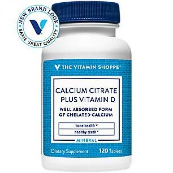 The Vitamin Shoppe Calcium Supplement 1 Calcium Citrate with 400IU Vitamin D - Mineral Essential for Healthy Bones Teeth - 100 Daily Value of Well Absorbed Form of Chelated Calcium, Vitamin D (as Ergocalciferol (120 Tablets)