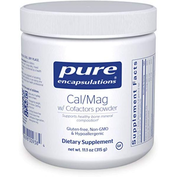 Pure Encapsulations Calcium Supplement 1 Pure Encapsulations - Cal/Mag with Cofactors Powder - Highly-Absorbable Calcium with Magnesium, Vitamin D, Boron, Silica and Xylitol - 11.1 Ounces