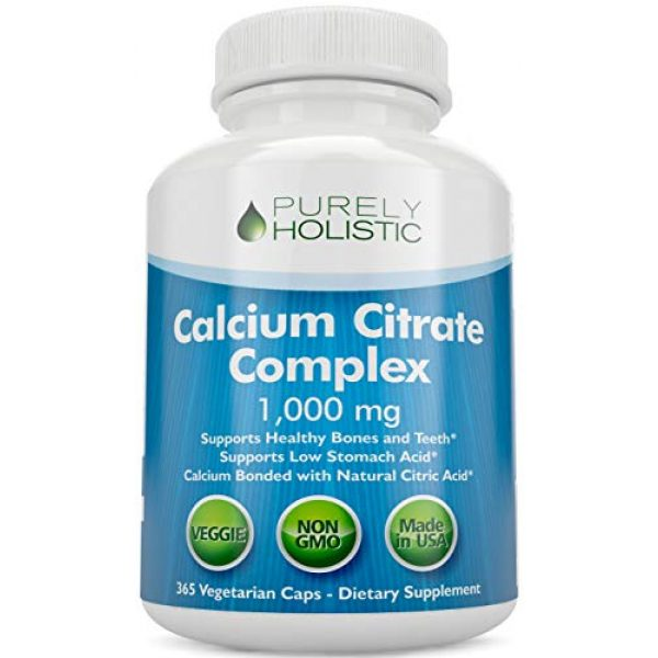 Purely Holistic Calcium Supplement 1 Calcium Citrate 1000mg - 365 Vegan Capsules not Tablets - Supports Health of Bones and Teeth - with Added Parsley, Dandelion and Watercress - Without Vitamin D - Made in The USA by Purely Holistic