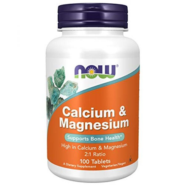 NOW Foods Calcium Supplement 1 NOW Supplements, Calcium & Magnesium 2:1 Ratio, High Potency, Supports Bone Health*, 100 Tablets
