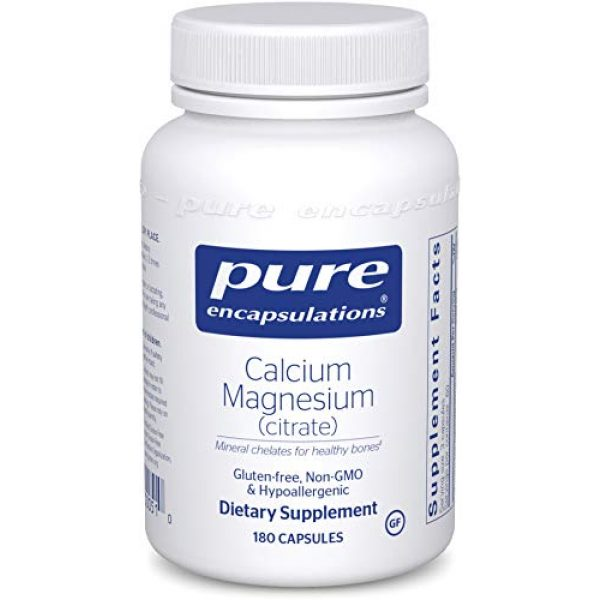 Pure Encapsulations Calcium Supplement 1 Pure Encapsulations Calcium Magnesium (Citrate) | Supplement for Bone Strength, Muscle Cramp and Tension Relief, Teeth, and Cardiovascular Health* | 180 Capsules