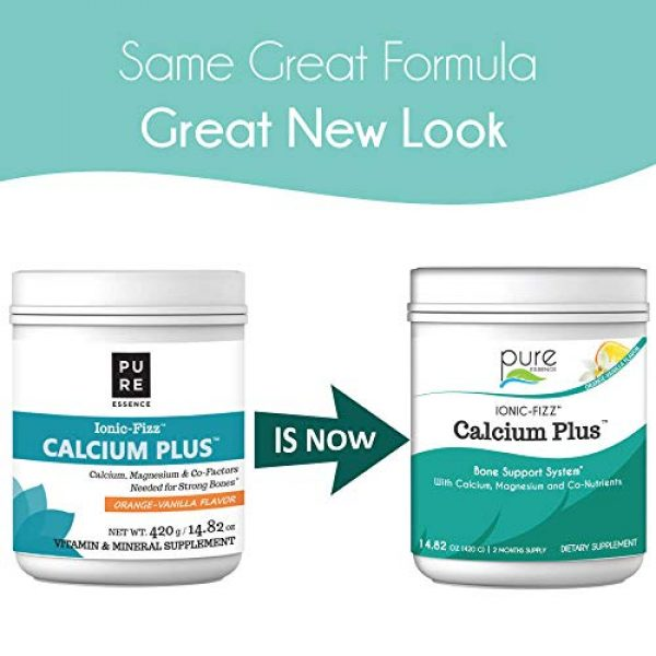 PURE ESSENCE LABS Calcium Supplement 2 Pure Essence Labs Ionic Fizz Calcium Plus-Perfect Calcium/Magnesium Ratio with Every Co-Factor Needed for Strong Bones - Orange Vanilla - 420 Grams