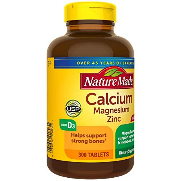 Nature Made Calcium Supplement 3 Nature Made Calcium, Magnesium Oxide, Zinc with Vitamin D3 helps support Bone Strength, Tablets, 300 Count