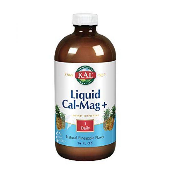 KAL Calcium Supplement 1 KAL Liquid Cal-Mag+ Vitamin D-3 | Natural Pineapple Flavor | Healthy Bones, Muscle & Heart Support | 30 Servings | 16 oz