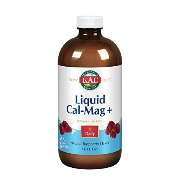 KAL Calcium Supplement 1 KAL Liquid Cal-Mag+ Vitamin D-3 | Natural Raspberry Flavor | Healthy Bones, Muscle & Heart Support | 30 Servings | 16 oz