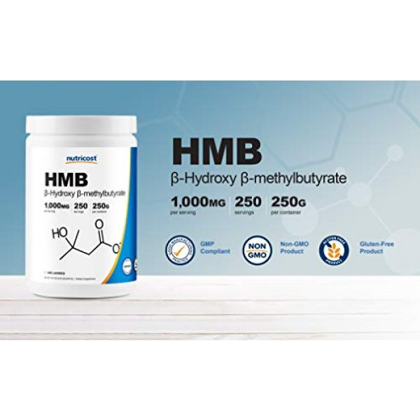 Nutricost Calcium Supplement 3 Nutricost HMB Powder (Beta-Hydroxy Beta-Methylbutyrate) 250 Grams - Gluten Free & Non-GMO