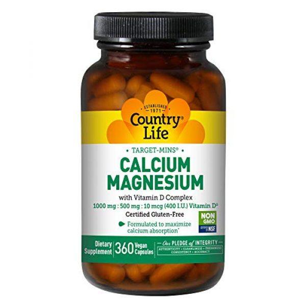 Country Life Calcium Supplement 1 Country Life Target-Mins Calcium Magnesium w/ Vitamin D - 360 Vegan Capsules - Formulated To Maximize Calcium Absorption