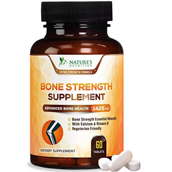 Nature's Nutrition Calcium Supplement 1 Bone Strength Supplements Calcium Formula - Vitamin K + D3, Magnesium, Potassium - Made in USA - Complete Bone Health Supplement to Support Growth, Mass, Density, Hardness - 60 Tablets