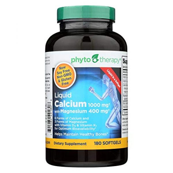 Phyto-Therapy Calcium Supplement 1 Phyto-Therapy Liquid Calcium with Magnesium - 1000 mg - 180 Softgels