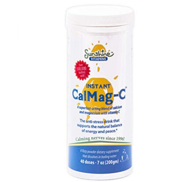 Sunshine Vitamins Calcium Supplement 1 Sunshine Vitamins Instant Cal Mag C - Calcium, Magnesium and Vitamin C for Better Sleep and Less Stress - Feel Calm and Relaxed - Super Fast Absorption to Blood, Muscles & Bones