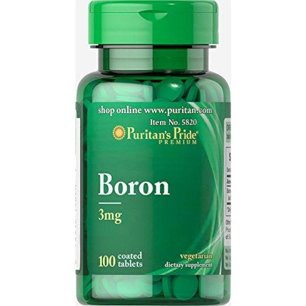 Puritans Pride Calcium Supplement 1 Puritans Pride Boron 3 mg Tablets, 100 Count
