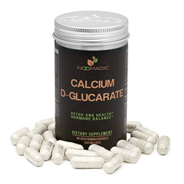 Noomadic Calcium Supplement 1 Calcium D-Glucarate (CDG), 60 Capsules | 500mg, Regulates Excess Estrogen Levels & inhibits Estrogen Dominance, Supports Hormonal Acne, Hot Flashes, Detox, Cleanse, Liver, Weight Loss, Metabolism
