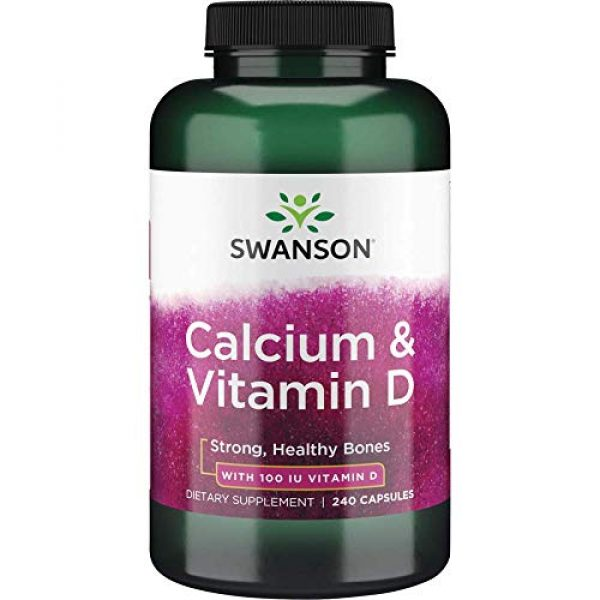 Swanson Premium Brand Calcium Supplement 1 Swanson Calcium Citrate Calcium Carbonate Complex with Vitamin D Bone Muscle Nerve Health Blood Pressure Immune System Support Mineral Supplement 240 Capsules (Caps)