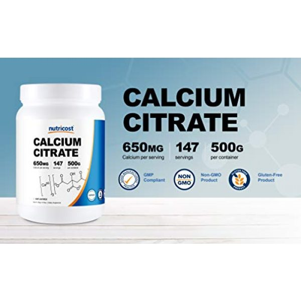 Nutricost Calcium Supplement 3 Nutricost Pure Calcium Citrate Powder (500 Grams) (Unflavored) - No Fillers, Gluten Free (1.1lbs)