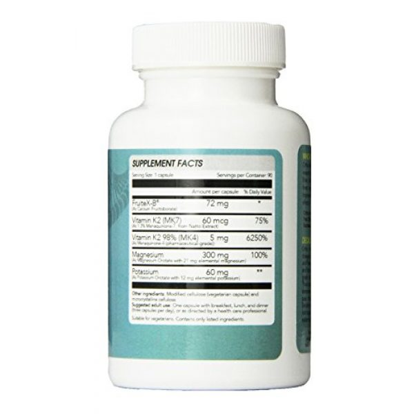 Ortho Nutrition Calcium Supplement 3 Decalcify - Fruitex-B, Vitamin K2 (MK4 and MK7), Magnesium and Potassium Orotate, 90 Vegetarian Capsules