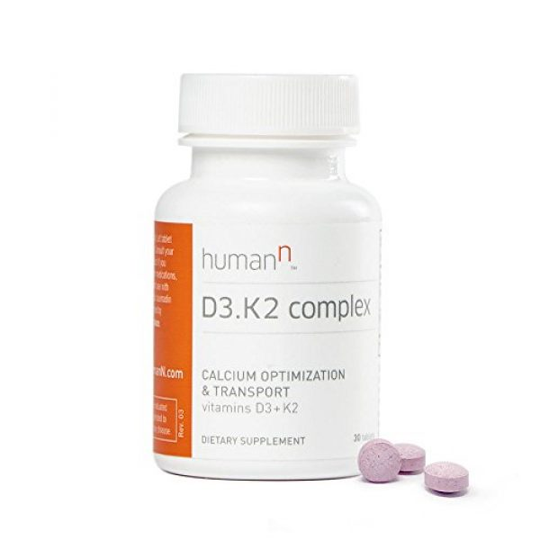 HumanN Calcium Supplement 2 HumanN Vitamin D3 and K2 Complex - Supports Immune, Respiratory, Lung, and Bone Health - Dietary Supplement - Fast Melt Tablets - 30 Count - from The Makers of SuperBeets