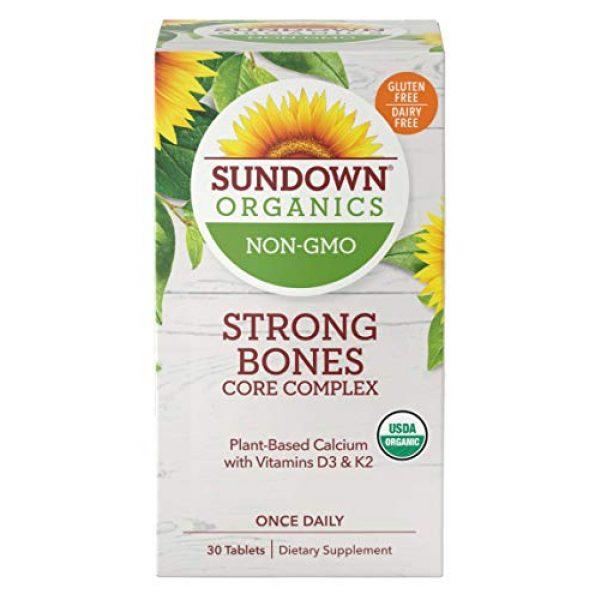 Sundown Calcium Supplement 1 Sundown Organics Strong Bones Core Complex, Plant-Based Calcium Supplement with Vitamin D3 & K2, Gluten Free, 100% Non-GMO, 30 Tablets