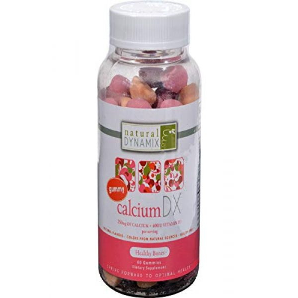 Natural Dynamix Calcium Supplement 2 Natural Dynamix Calcium DX Vitamin D , Chewable Cuties 60 Count Great Taste Gluten Free Preservative Free Natural Color Source