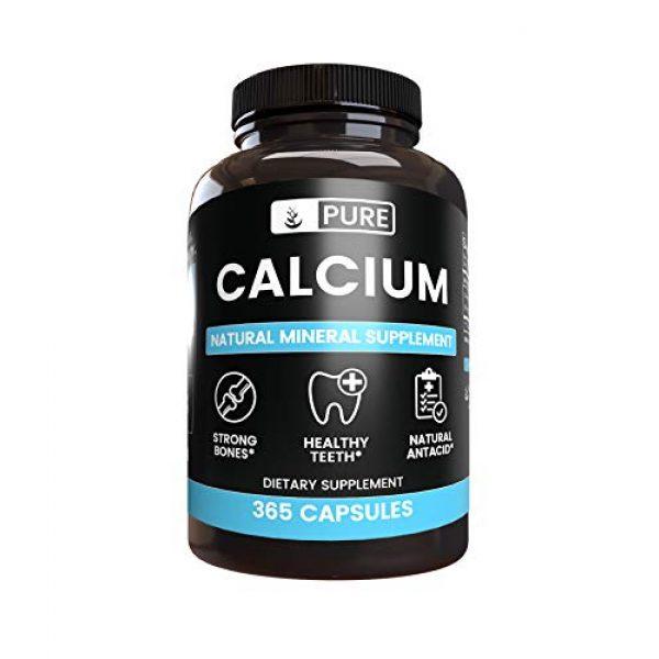 Pure Organic Ingredients Calcium Supplement 3 Pure Calcium Carbonate (365 Capsules) Natural Mineral Supplement, Dairy-Free, Non-GMO & Gluten-Free (1100 mg Serving)