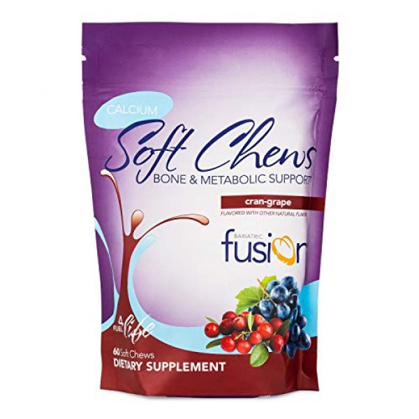 Bariatric Fusion Calcium Supplement 1 Bariatric Fusion Calcium Citrate 500mg & Energy Soft Chews Cran-Grape Flavor for Bariatric Surgery Patients Including Gastric Bypass and Sleeve Gastrectomy, 60 Count, Sugar Free, Made in The USA