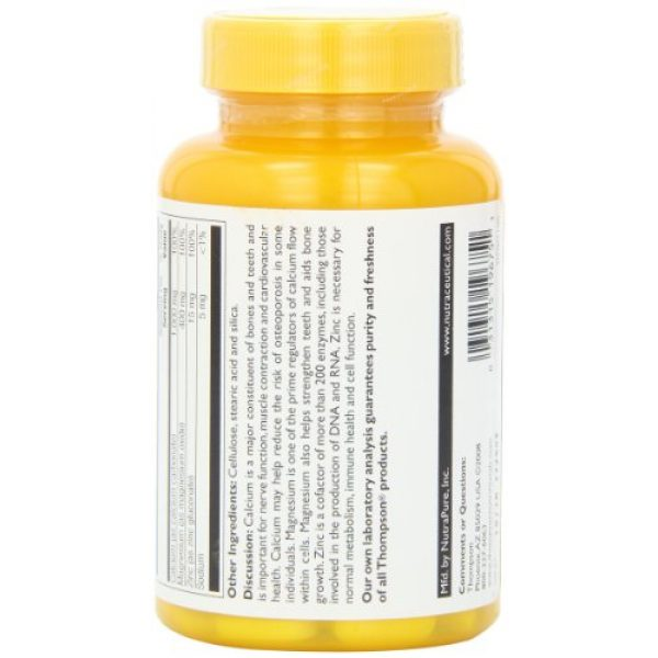 Thompson Calcium Supplement 3 Thompson Cal Mag with Zinc Tablets, 1000/400/15 Mg, 180 Count