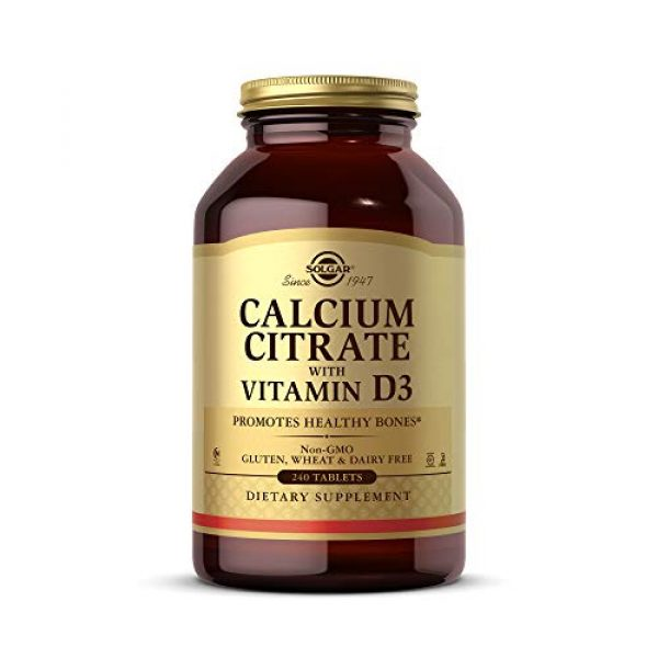 Solgar Calcium Supplement 1 Solgar Calcium Citrate with Vitamin D3, 240 Tablets - Promotes Healthy Bones & Teeth, Supports Musculoskeletal & Nervous Systems - Non-GMO, Gluten Free, Dairy Free, Kosher, Halal - 60 Servings