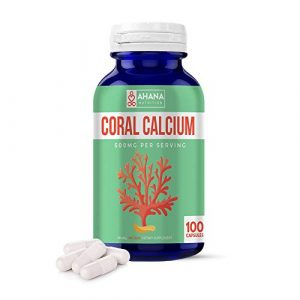 Ahana Nutrition Calcium Supplement 1 Coral Calcium Capsules by Ahana Nutrition - Calcium Pills to Support Bone and Teeth Health, Healthy Digestion, PH Balance and Overall Wellness (500mg - 100 Easy to Swallow Pills)