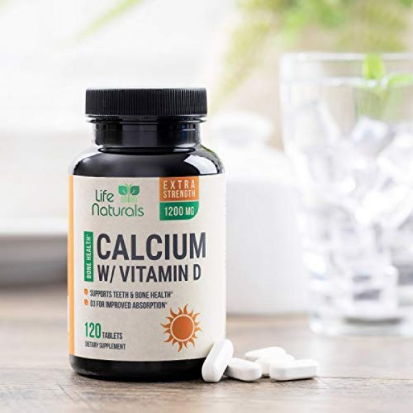 Life Nutrition Calcium Supplement 5 Calcium Supplement 600mg per Tablet - High Potency Calcium Carbonate Plus Vitamin D - Made in USA - Highly Absorbable Bone Support Vitamins, Non-GMO for Men and Women - 120 Tablets