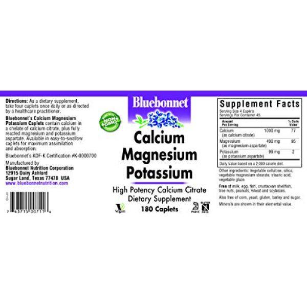BlueBonnet Calcium Supplement 2 BlueBonnet Calcium Magnesium Plus Potassium Caplets, 180 Count (743715007116)
