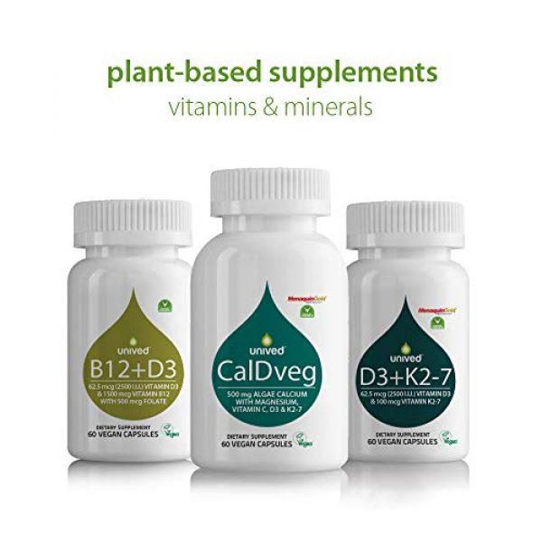Unived Calcium Supplement 2 Unived CalDveg Algae Calcium Magnesium & 73 Trace Minerals | Plant Based Vitamin D3 (Vitashine) | Vitamin K2-7 (MenaquinGold) | Vitamin C (Acerola) | Plant-Based Bone Health Supplement | 60 Vegan Caps