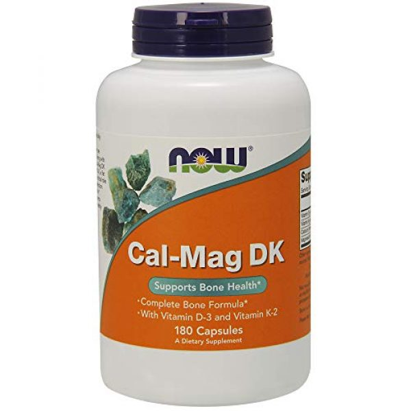 NOW Foods Calcium Supplement 1 NOW Supplements, Cal-Mag DK with Vitamin D-3 and Vitamin K-2, Supports Bone Health*, 180 Capsules