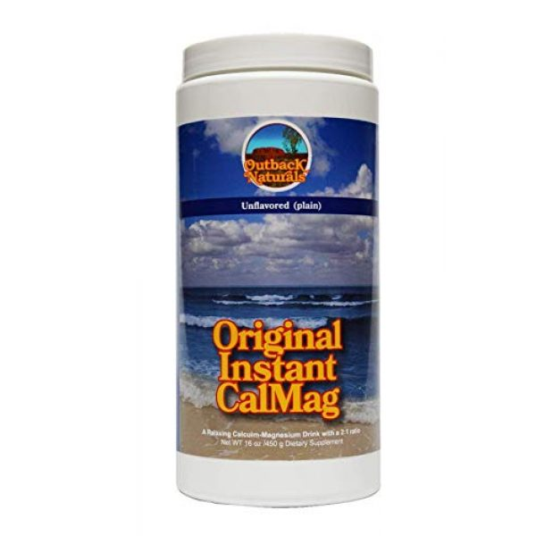 Outback Naturals Calcium Supplement 5 Original Instant CalMag powder - 60 servings - unflavored 2:1 ratio of calcium and magnesium. Sleep better, feel more relaxed and less stressed, loosen up tight or cramped muscles. Helps constipation.